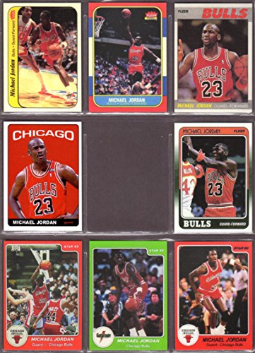 Michael Jordan (8) Card Basketball Reprint Lot #1 including 1986 Fleer Rookie Card and 1985 Star Rookie ()