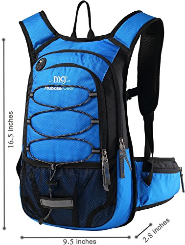 Backpack capacity. Mubasel Gear Insulated Hydration Backpack with 2L BPA Free Bladder - Keeps Liquid Cool up to 5 Hours - Waterproof Pack for Running, Hiking, Cycling, Camping (Blue - with Waist Pack)