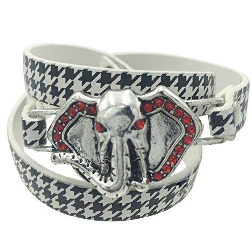 Gypsy Jewels Houndstooth Print Elephant Head Rhinestones Silver Tone Wrap Around Snap Bracelet (Black & White)