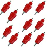 OOOUSE 10 Pack Fowl Water Nipple Drinker Chicken Feeder Poultry Hen Screw In Style,Red
