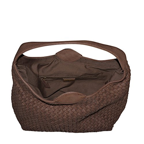 Leather Shoulder Bucket Brown Hobo Paolo Hand Woven Bag Washed Handbag Masi Italian zfUzXw