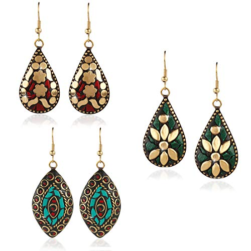 Yellow Chimes Handmade Tibetan Traditional COMBO of 3 Pairs Gold Plated Dangler Earrings for Women and Girls