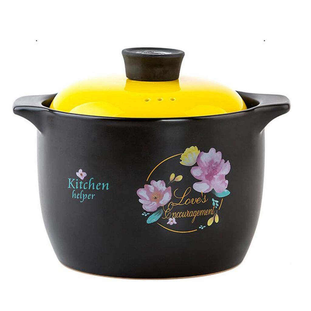 Large Capacity Casserole Ceramic 3600ML Color Cover High Temperature Porridge Stew Health Tanks Open Fire Direct Burning Household Gas 2 Color MUMUJIN (color : Yellow)