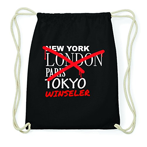 JOllify WINSELER Hipster Turnbeutel Tasche Rucksack aus Baumwolle - Farbe: schwarz Design: Grafitti