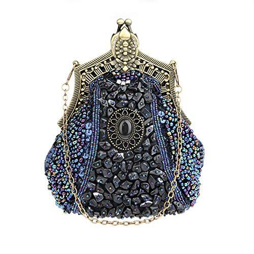 Handmade Jours fériés soirée 20x18x8cm Embrayage Gris Blue d'autres soirée Rétro de glassbeads Parti Bal Sac de Broderie Deep Perles Femmes 8x7x3inch nOpp6wTY5q