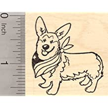 4th of July Corgi Rubber Stamp, Welsh Cardigan Pembroke