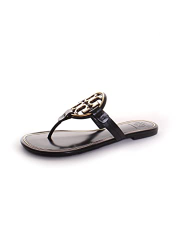 52ff0914a57 Amazon.com | Tory Burch Miller Metal Logo Thong Sandal, Perfect ...