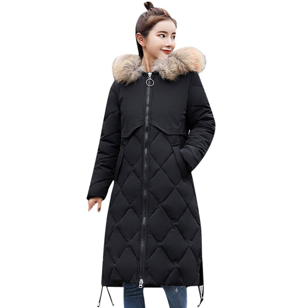 Dainzuy Ladies Sexy Casual Coat,Women Faux Fur Hooded Thick Warm Slim Jacket Long Overcoat