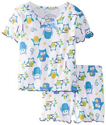 Sara's Prints Big Girls' Fitted Short Pjs, Wise Old Owls Spring, 7