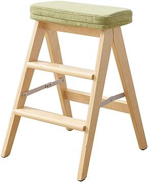 Plataforma de escalada de usos múltiples Taburete escalera de madera multifunción Cocina plegable Steps Biblioteca Office Step 3 Mini Stepladder (verde) Cojín extraíble (color : A): Amazon.es: Bricolaje y herramientas