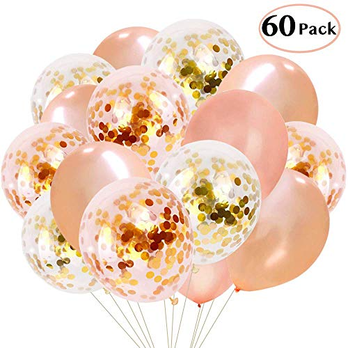 Tooluu 60PCS Rose Gold Balloons Confetti, 12 Inch Latex Party Balloons for Party Wedding Holiday Baby Shower Bridal Shower Birthday Decorations