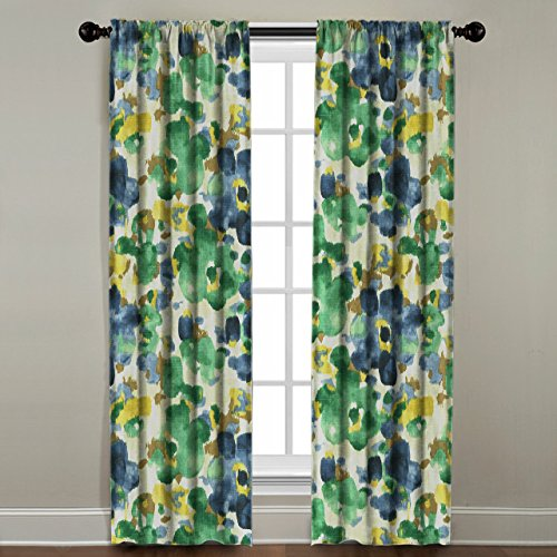 The Pillow Collection Rod Pocket Watercolor Floral Window Panel, 108'' Long, Blue