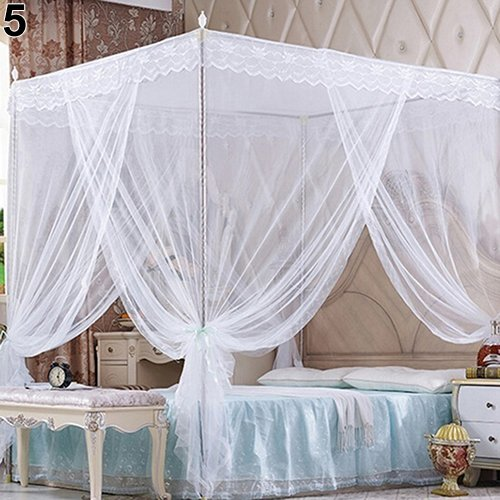 Baost Romantic Princess Lace Canopy Mosquito Net No Frame Mosquito Bed Canopy Net 4 Corner Square Princess Fly Screen Tent for Adults &Girls Boys Twin Full Queen King Bed White - Beds Canopy Romantic