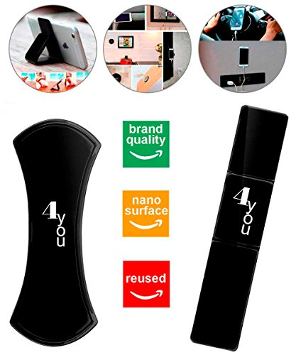 4you Multipurpose Black Nano Gel Pads for Flat Surfaces Like Wall, Refrigerator, and car- Universal Smartphone & Tablet Non-Slip Multi Function Pad