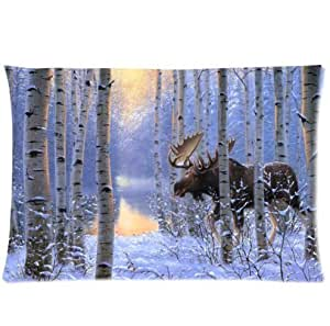 LarryToliver You deserve to have single-sided printing 2 way cloth 20 X 30 inch pillowcase On the Move painting winter snow animals forest moose Design best pillow cases by ruishername