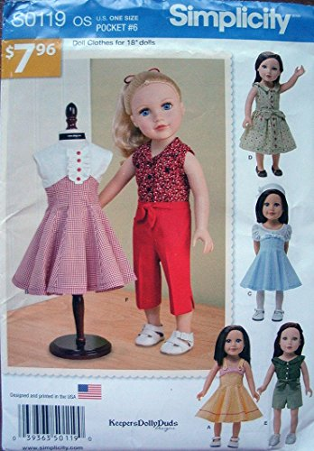 """Simplicity Keepers Dolly Duds Designs Pattern S0119 Doll Clothes for 18"""" Dolls"""
