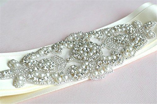 Ivory Custom 2 Ribbon - New Trlyc Ivory Ribbon Sash Sale-Wedding Sash, Rhinestones Pearls Wedding Belt, Bridal Sash, Jeweled Wedding