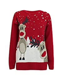 Forever Womens Long Sleeves Star Twin Rudolph Print Novelty Christmas Jumper
