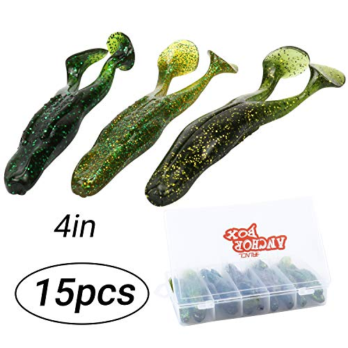 RUNCL Anchor Box - Soft Body Frog, 2 Legged Frog, Soft Frog Lure with Kicking Legs Hook Slot 4in (Pack of 15) (Best Soft Plastics For Bass)