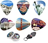 Unique Guitar Picks USA National Landmarks,Premium Gift Set Of 12 Medium Celluloid Picks| Complete W/ Sleek Tin Box, Leather Key chain Pick Holder.