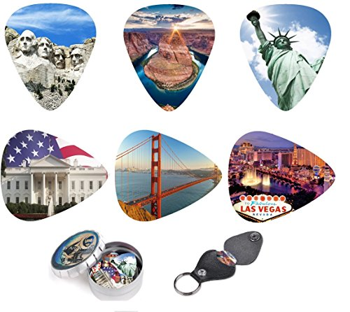 Unique Guitar Picks USA National Landmarks,Premium Gift Set Of 12 Medium Celluloid Picks| Complete W/Sleek Tin Box, Leather Key chain Pick Holder. (Guitar Pick Usa)