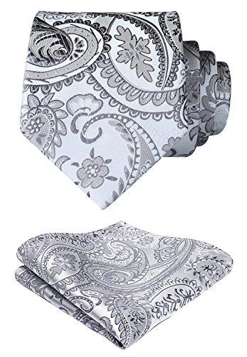 Classic Woven Tie - HISDERN Paisley Floral Wedding Tie Handkerchief Woven Classic Men's Necktie & Pocket Square Set Gray & White