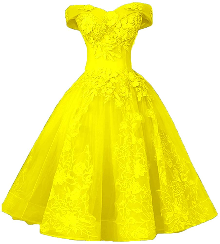 Yellow EieenDor Lace Appliques Short Quinceanera Dresses Black Knee Length Formal Cocktail Homecoming Dresses