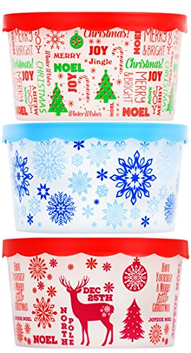 Set of 3 Christmas Themed Plastic Containers with Lids for Cookies Candy Nuts Gifts Bundle of 3 Items - 1 Snowflakes, 1 Deer, 1 Christmas -