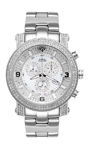 NEW! Aqua Master Men's Power Two-Row Diamond Watch with Diamond Dial & Full Diamond Case, 5.50 ctw by Aqua Master