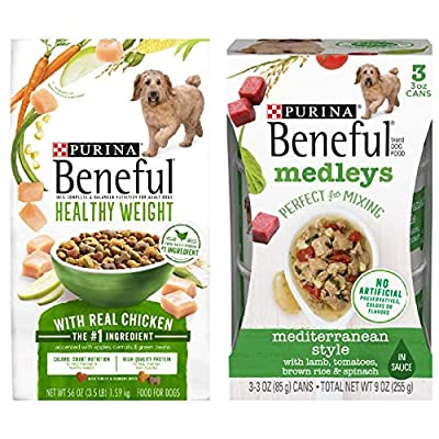 Bundle Pack- 1 Bag of Purina Beneful Healthy Weight with Real Chicken Dry Dog Food 3.5-lbs/ 3 Cans of Purina Beneful Medleys Mediterranean Style Canned Dog Food, 3-oz ea