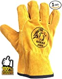 #4: Work Leather Gloves, for Men & Women, Working, Wood Cutting, Mechanic, Gardening, Driving, Welding, Heavy Duty Gloves to Protect Hands from Scratches, Injuries, Leather Working Gloves