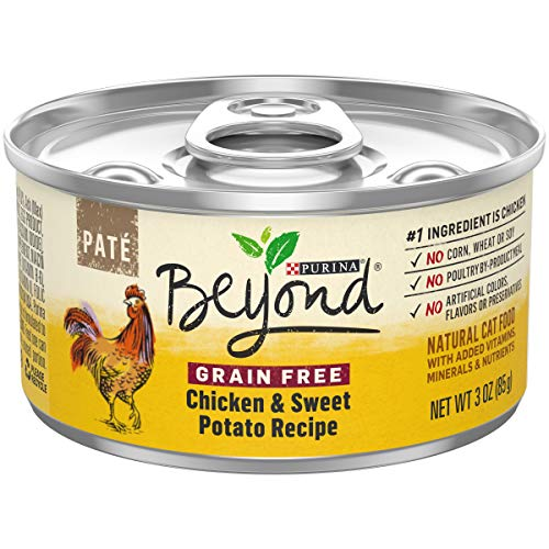 - Purina Beyond Grain Free, Natural Pate Wet Cat Food; Grain Free Chicken & Sweet Potato Recipe  - (12) 3 oz. Cans