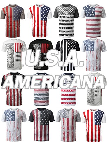 JC-DISTRO-Mens-Hipster-Hip-Hop-USA-American-Flag-All-Star-Crewneck-T-Shirt