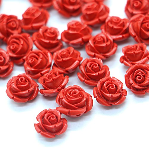 - 40 PCS Cinnabar Carved Rose Beads for Jewelry Making Red Rose Charms,1/4''