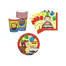 Curious George Birthday Party Supplies Set Plates Napkins Cups Kit for 16 by Unique by Unique