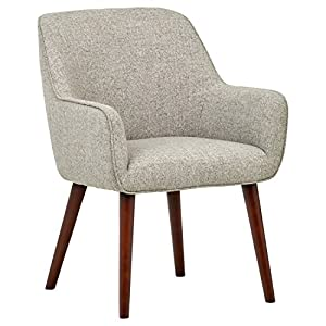 "Amazon Brand – Rivet Julie Mid-Century Modern Dining Room Accent Chair with Arms, 32""H, Light Grey 5"