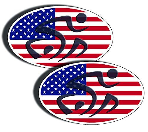 Triathlon TRI Oval USA FLAG Vinyl Die Cut Decal Sticker - America Triathlon