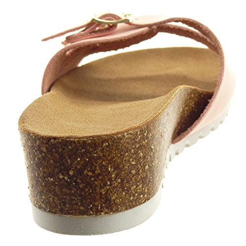Sopily - Scarpe da Moda sandali Aperto alla caviglia donna fibbia metallico Tacco zeppa 4.5 CM - Rosa