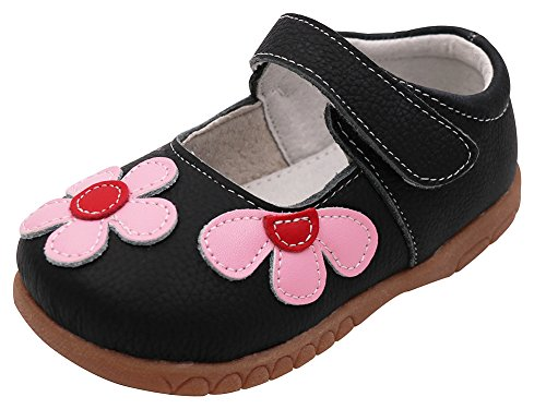 Femizee Fashion Leather Flats Shoes Mary Jane Shoes For Toddler Girls,Black,1529 CN26 (Black Leather Toddler)