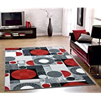 Bandelini Napoli Collection Modern Contemporary Design Rectanagle & Circular Design Rubber-Backed Non-Slip (Non-Skid) Area Rugs | Thin Low Pile Indoor/Outdoor Red & Gray 5 x 7