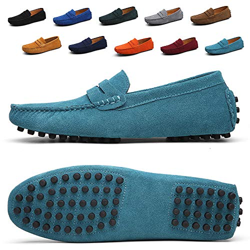 (Ezkrwxn Men Penny Loafers Slip on Shoes Suede Leather Moccasins Driver Driving Shoes Fashion Office Business Casual Dress Shoes Plus Big Size Sneakers SkyBlue Size 13 (2088-Skyblue-48))