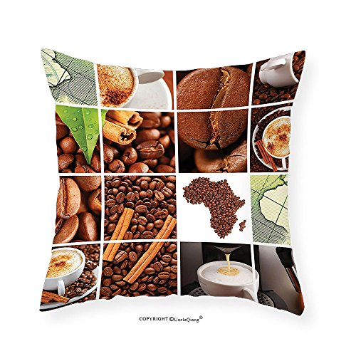VROSELV Custom Cotton Linen Pillowcase African Collage Made Wtih Coffee Beans and Mugs Cinnamon Maps Continent Macro Photos for Bedroom Living Room Dorm Brown Green White 14