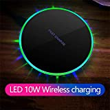 Pollyhb LED Qi Wireless Charger Charging Stand Pad Dock,Compatible iPhone Xs Max/XR/XS/X/8/8Plus/, Compatible Galaxy S10plus/S10/S9/S9+/S8/Note 9