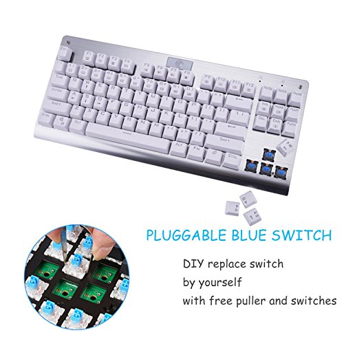 Mechanical Gaming Keyboard Black Aitalk 87 Keys Anti-ghosting Waterproof Tenkeyless Keyboard with Blue Switches Easy Access Media Keys Wired Keyboard for Mac PC Gamers and Typists