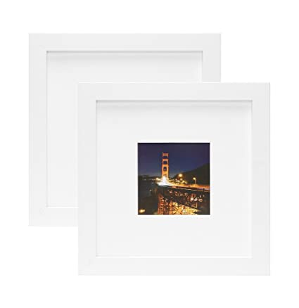 Frametory,Set of 2 WHITE Square Instagram Photo Frame - 8X8 Table-Top (4x4 Matted) - Wide Molding - Built in Hanging Features (8x8 Set of 2, White)
