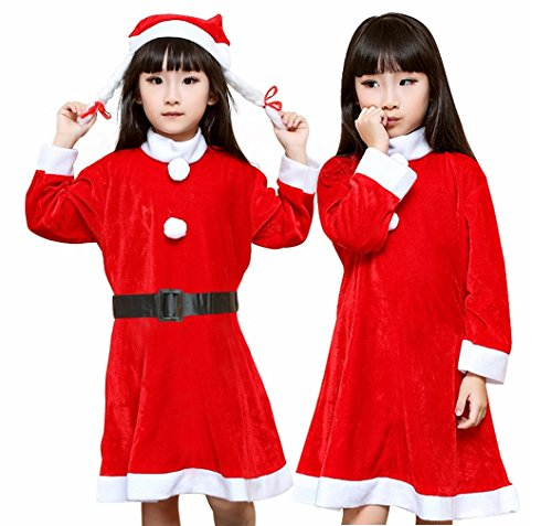 Santa Claus Costume Girls Kids Christmas Mrs.Fancy Dress with Hat Outfit Set (Santa Claus Costume For Girl)