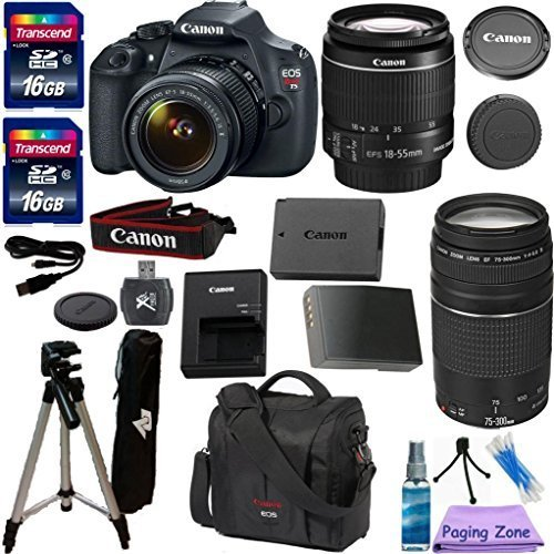 """Canon EOS Rebel T5 DSLR CMOS Digital SLR Camera and DIGIC Imaging with EF-S 18-55mm f/3.5-5.6 IS Lens PZ Exclusive Camera Bundle with Canon 75-300mm III Zoom Lens + Original Canon Carrying Case + 57"""" Professional Tripod + Extra Long Lasting Battery + 2pcs 16GB Class 10 Memory Cards + 9pc Accessory Kit"""