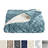 Home Fashion Designs Premium Reversible Berber and Sculpted Velvet Plush Luxury Blanket. High-End, Soft, Warm Sherpa Bed Blanket Brand. (Twin, Blue Surf)