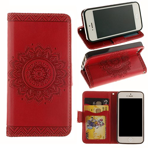- Valentines Day Gifts-For iPhone SE/5/5s Wallet Case,Valentoria Mandragora Flower Premium Vintage Emboss Leather Wallet Pouch Case with Wrist Strap for iPhone 5/5s(iPhone 5/5s, Red)