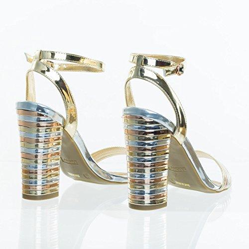 Multi Stripe Stack Block Heel Dress Sandal, Metal Ribbed Detail Gold/Silver